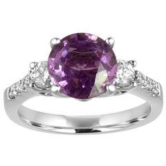 Certified No Heat 2.64 Carat Round Violet Sapphire Diamond Gold Ring