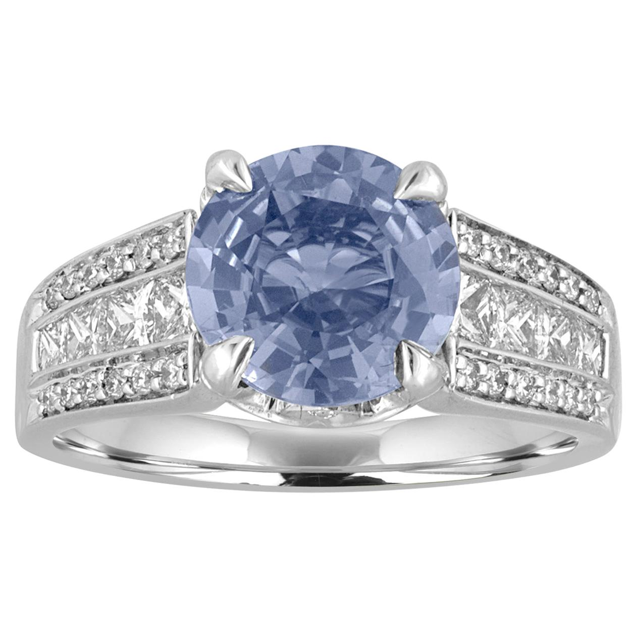 Certified No Heat 3.02 Carat Round Blue Sapphire and Diamond Gold Ring