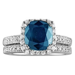 Certified No Heat 4.22 Carat Cushion Blue Sapphire Diamond Gold Ring & Band Set