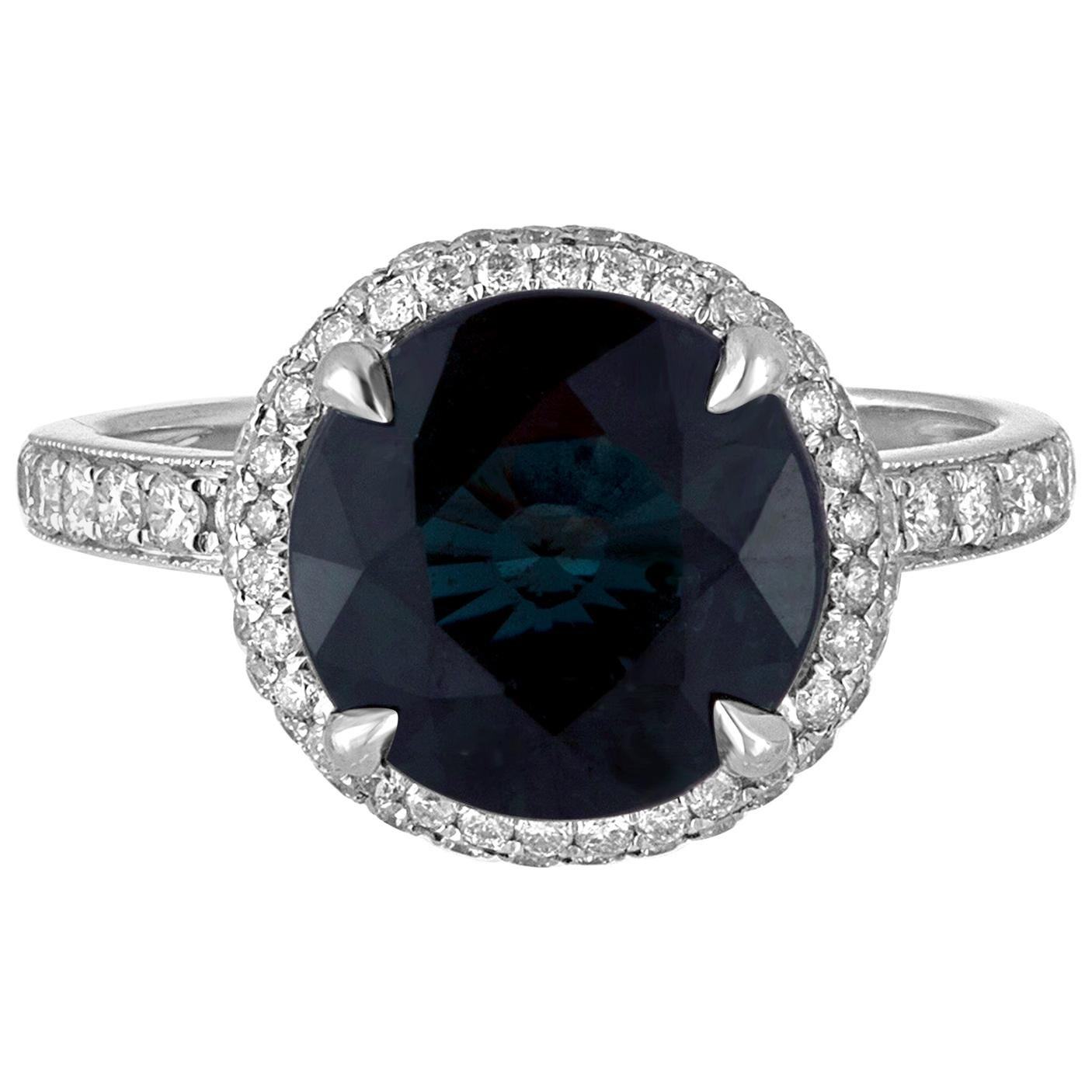 Certified No Heat 4.98 Carat Round Greenish Blue Sapphire Diamond Gold Ring