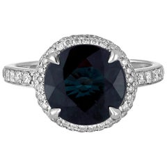 Certified No Heat 4.98 Carat Round Greenish Blue Sapphire Diamond Gold Ring