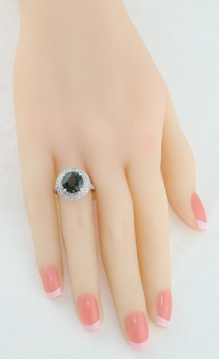 Round Cut Certified No Heat 5.27 Carat Bluish Green Sapphire Double Halo Diamond Gold Ring For Sale