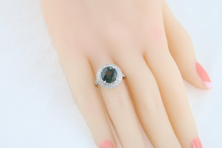 Certified No Heat 5.27 Carat Bluish Green Sapphire Double Halo Diamond Gold Ring For Sale 1
