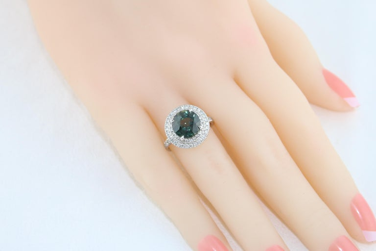 Certified No Heat 5.27 Carat Bluish Green Sapphire Double Halo Diamond Gold Ring For Sale 2