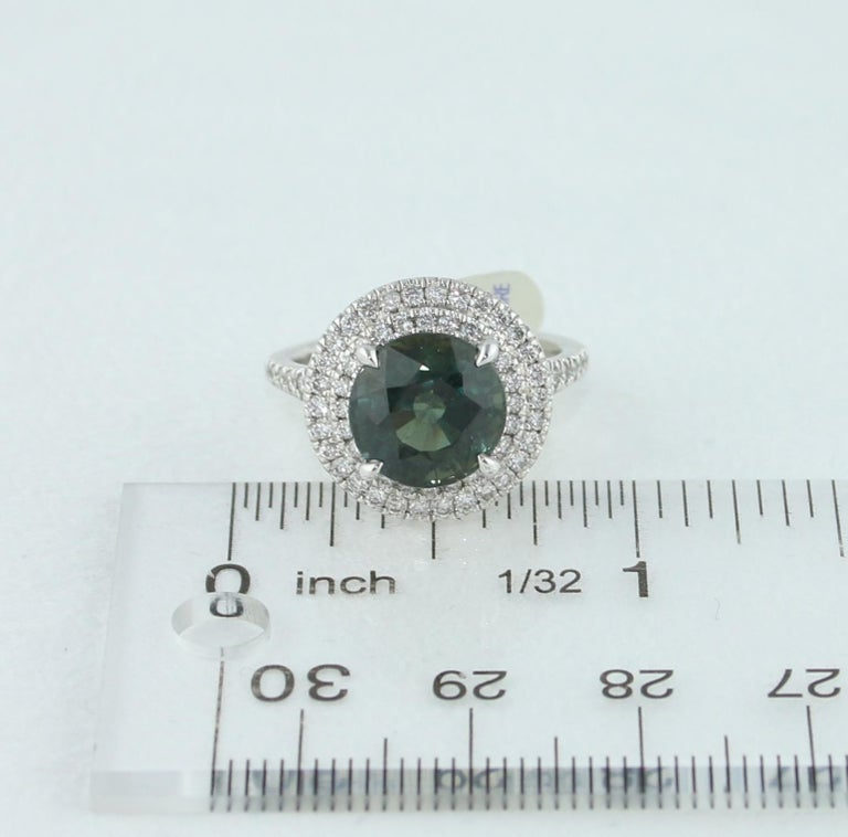 Certified No Heat 5.27 Carat Bluish Green Sapphire Double Halo Diamond Gold Ring For Sale 3