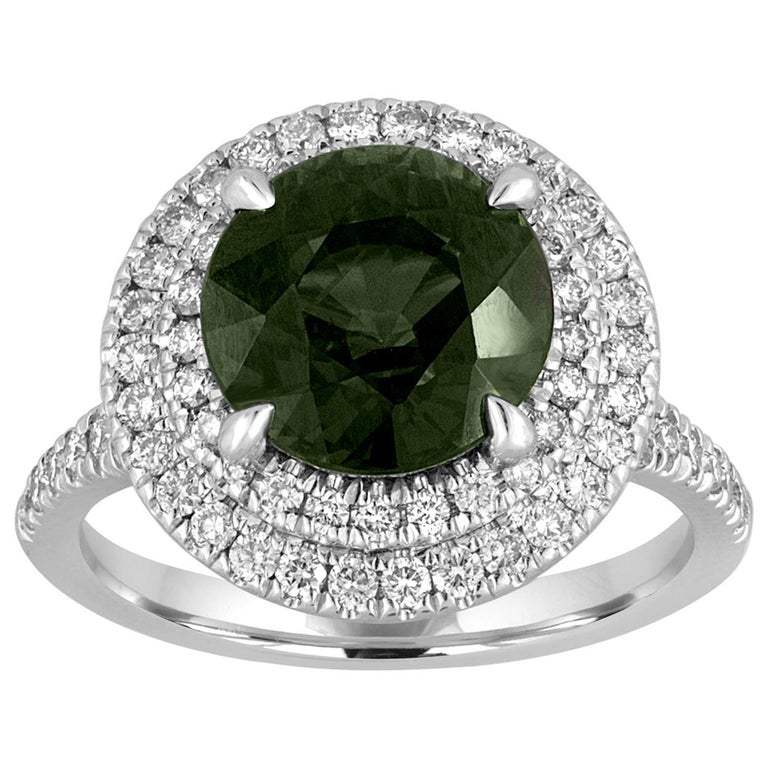 Certified No Heat 5.27 Carat Bluish Green Sapphire Double Halo Diamond Gold Ring For Sale
