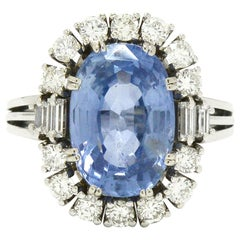 Certified No Heat 7 Carat Ceylon Sapphire Engagement Ring Cocktail Diamond Halo