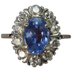 Certified No Heat Ceylon Sapphire and Diamond 18 Carat Gold Cluster Ring