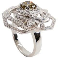 Certified Octagonal Cognac Diamond 1.29 Carat Flower Pendant & Cocktail Ring