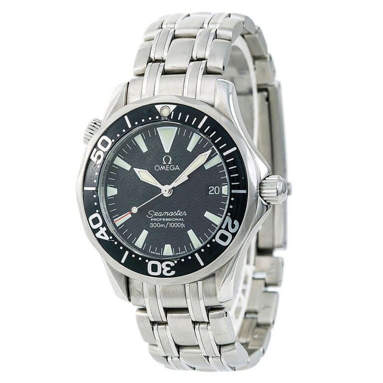 Certified Omega Seamaster 2262.50.00 Men's Quartz Watch Stainless Steel For Sale