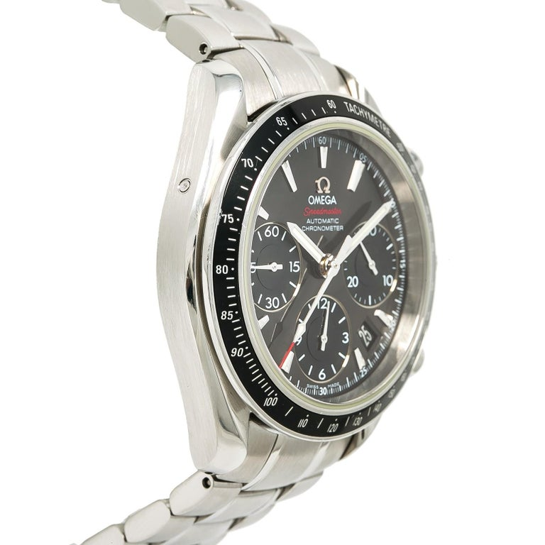 Contemporary Certified Omega Speedmaster with Band, SS Bezel and Black Dial For Sale