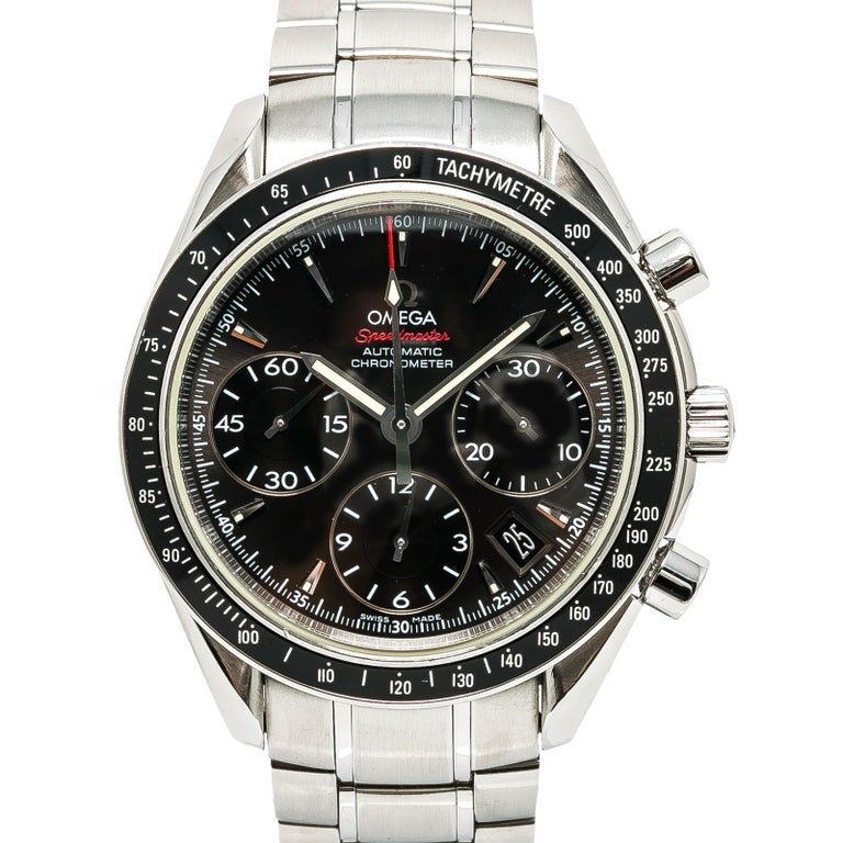 Certified Omega Speedmaster with Band, SS Bezel and Black Dial In Excellent Condition For Sale In Miami, FL