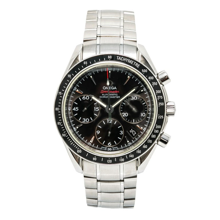 Certified Omega Speedmaster with Band, SS Bezel and Black Dial For Sale
