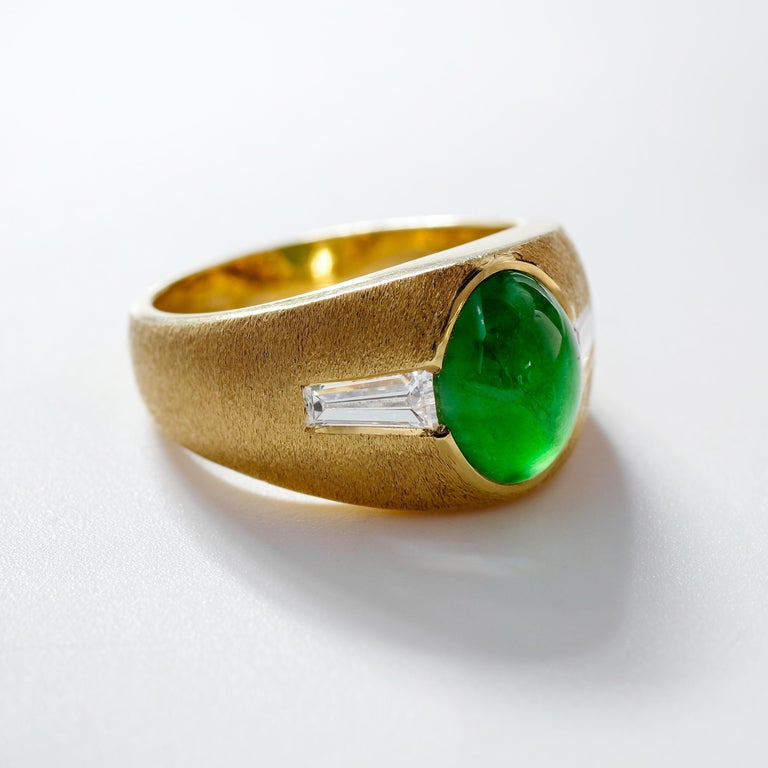 Modern Certified Omphacite Jade Ring of