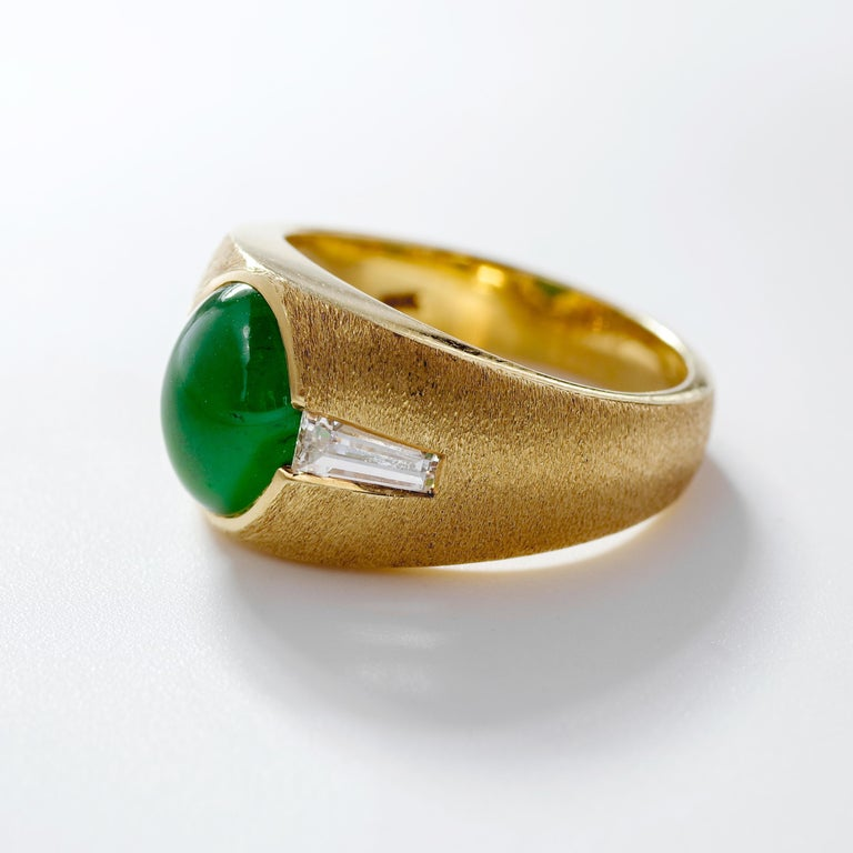 Baguette Cut Certified Omphacite Jade Ring of