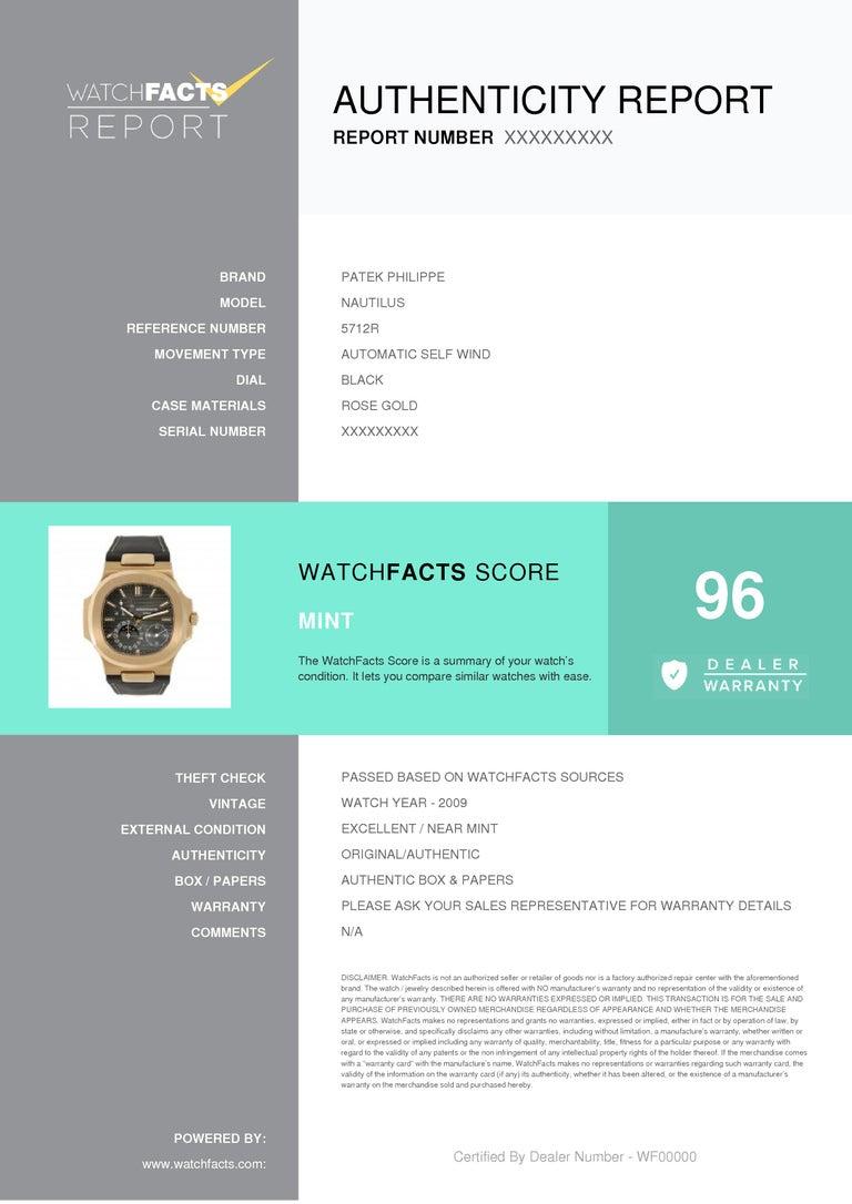 Men's Certified, Patek Philippe Nautilus Moon Phase Rose Gold Watch 5712R-001