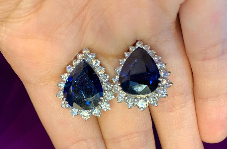 AGL Certified Pear Shape Sapphire and Diamond earrings Back Type: Clip On Approx Sapphire Weight: 10.00 Cts Approx Diamond Weight: 1.80  Cts