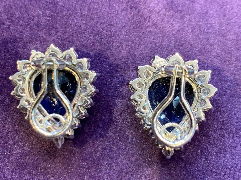 Women's Certified Pear Shape Sapphire and Diamond Earrings For Sale