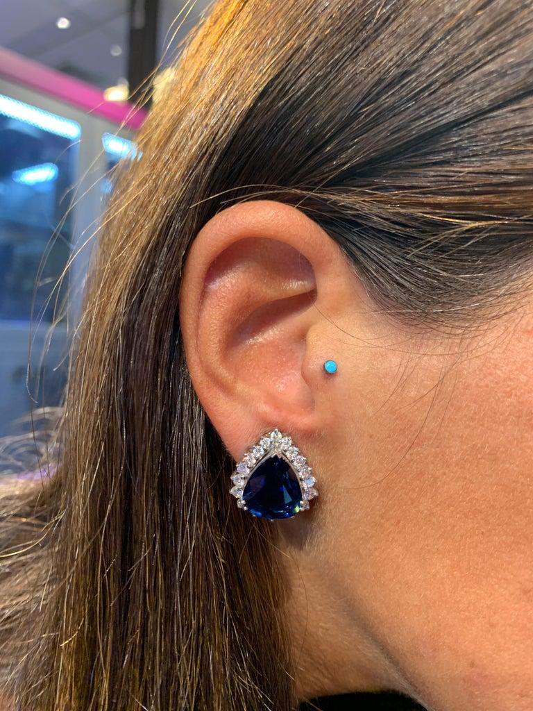 Certified Pear Shape Sapphire and Diamond Earrings For Sale 1