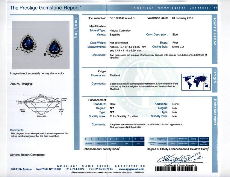 Certified Pear Shape Sapphire and Diamond Earrings For Sale 2