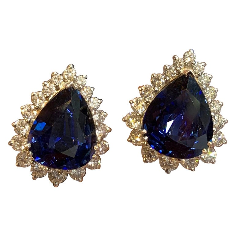 Certified Pear Shape Sapphire and Diamond Earrings For Sale
