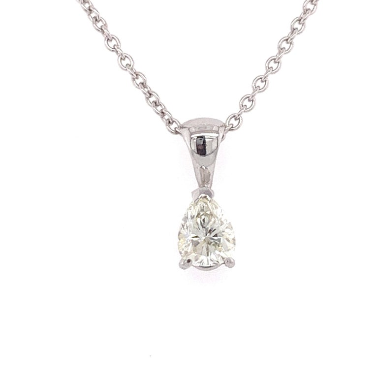 EGL certified diamond pear shaped pendant made with real/natural pear shaped diamond. Total Diamond Weight: 0.59 carats. Diamond Quantity: 1 (pear shaped diamond). Color: I. Clarity: SI1. Mounted on 18 karat white gold, two hole adjustable chain.