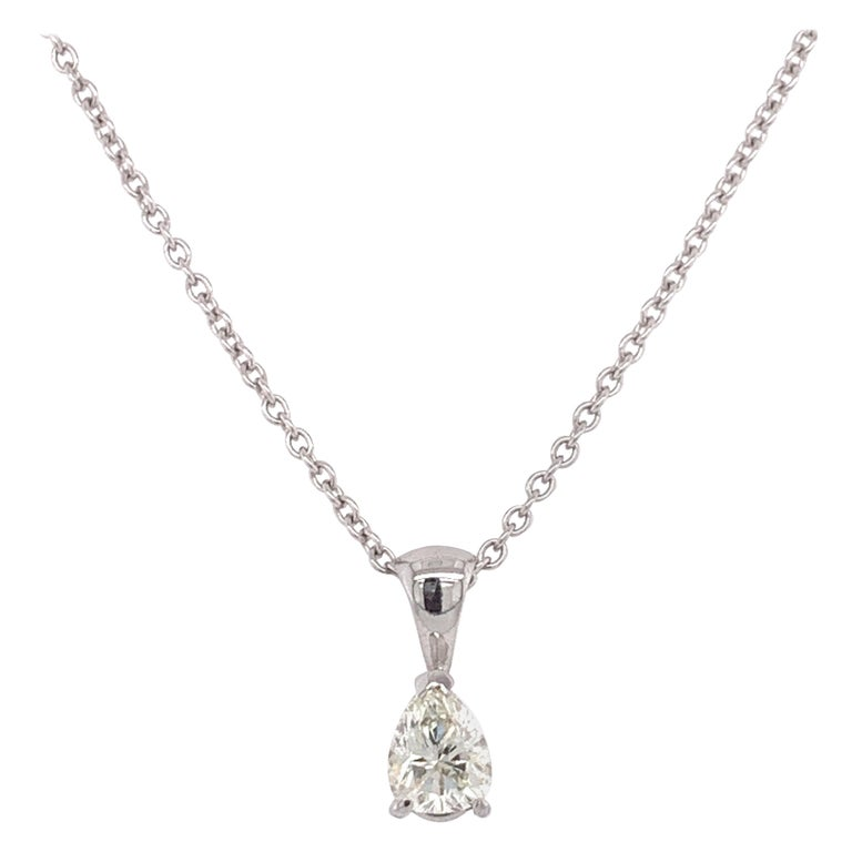 Certified Pear Shaped Diamond Pendant Necklace