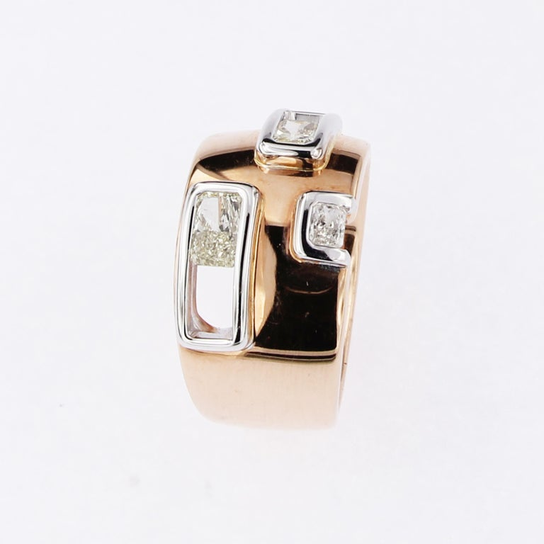Women's or Men's Certified Pink and White Golden Ring with Radiant Cut Yellow and White Diamonds For Sale