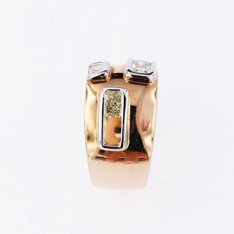 Certified Pink and White Golden Ring with Radiant Cut Yellow and White Diamonds For Sale 1