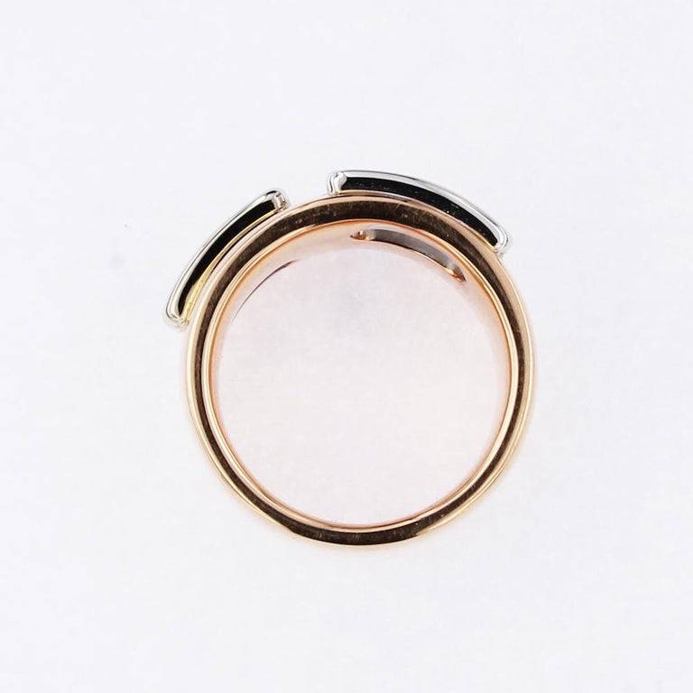 Certified Pink and White Golden Ring with Radiant Cut Yellow and White Diamonds For Sale 2