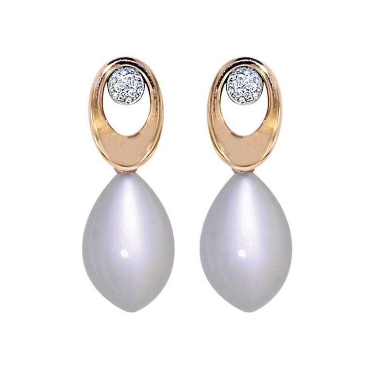 Round Cut Certified Pink Gold Diamond Earrings Three Pairs of Interchangeable Pendants For Sale