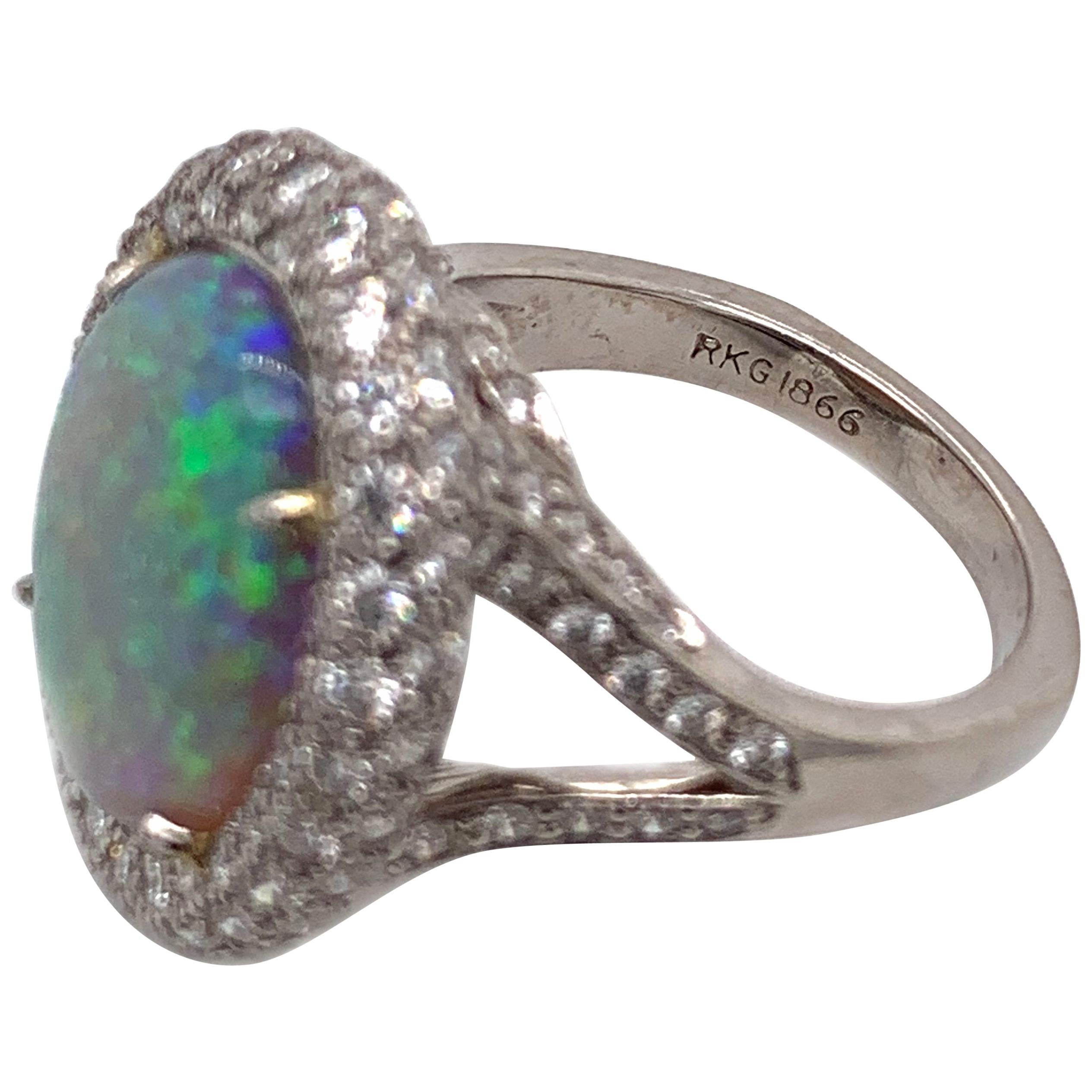 Certified Platinum Opal and Diamond Ring