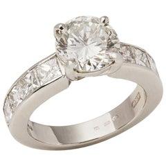 Certified Platinum Round Brilliant Cut Diamond Engagement Ring