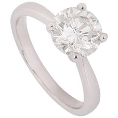 Certified Platinum Round Brilliant Cut Diamond Ring 2.00 Carat
