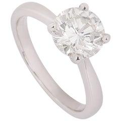 Certified Platinum Round Brilliant Cut Diamond Ring 2.00 Carat