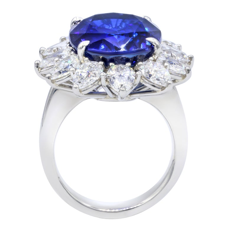 Oval Cut Certified Platinum Sapphire and Diamond Ring For Sale