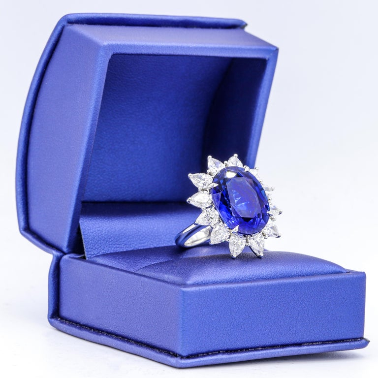 Women's Certified Platinum Sapphire and Diamond Ring For Sale