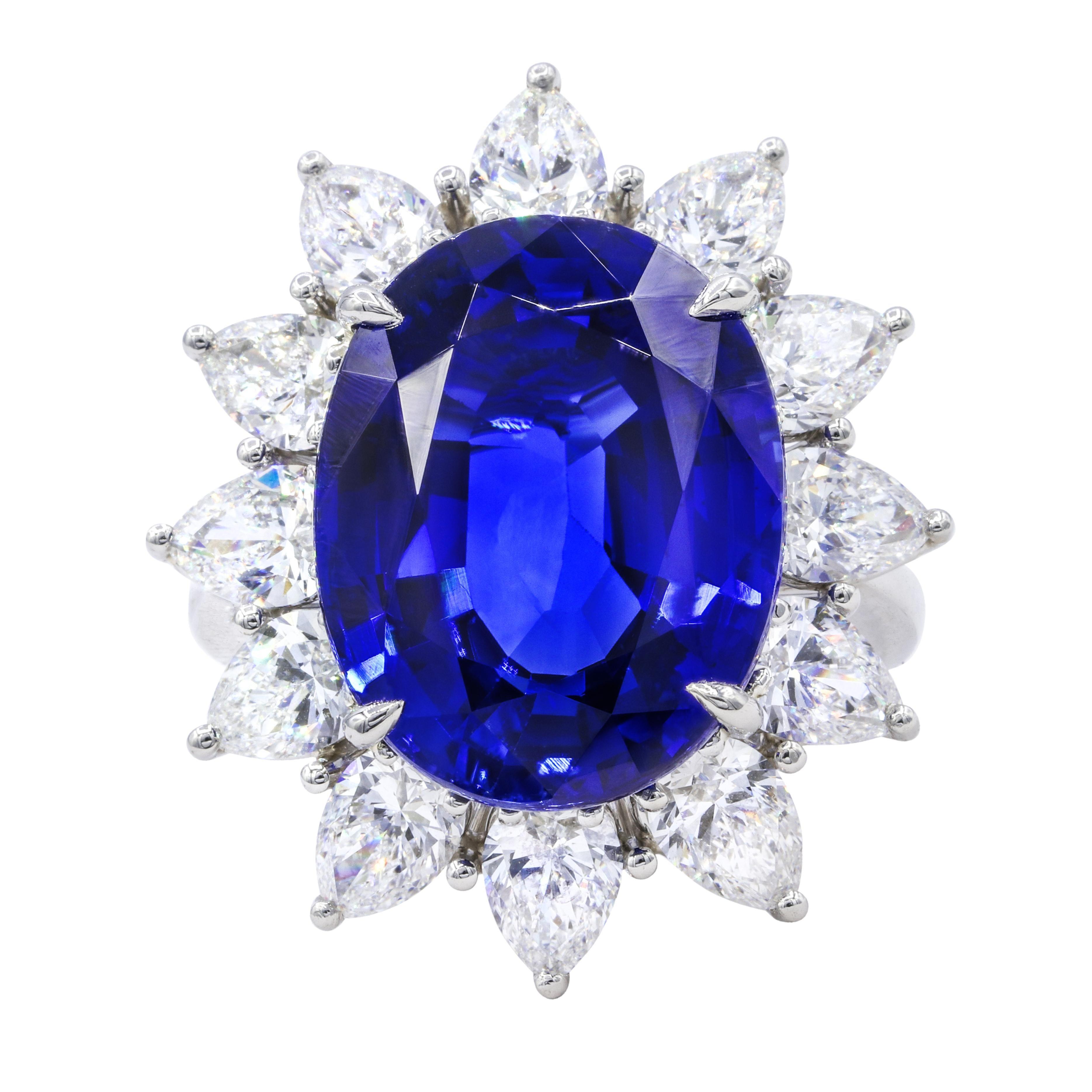 Certified 16.20 Carat Platinum Sapphire and Diamond Ring