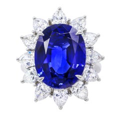 Certified 16.20 Carat Platinum Sapphire and Diamond Ring