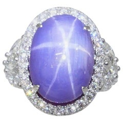 Certified Purple Star Sapphire 20.70 Carat Diamond Cocktail Ring, Statement Ring
