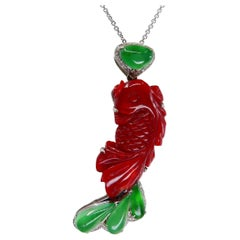 Certified Red Coral Icy Apple Green Jade and Diamond Koi Fish Pendant and Brooch