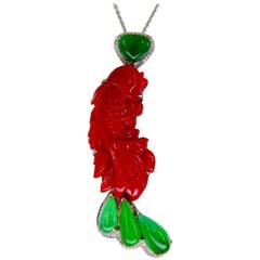 Certified Red Coral, Icy Apple Green Jade & Diamond Koi Fish Pendant and Brooch