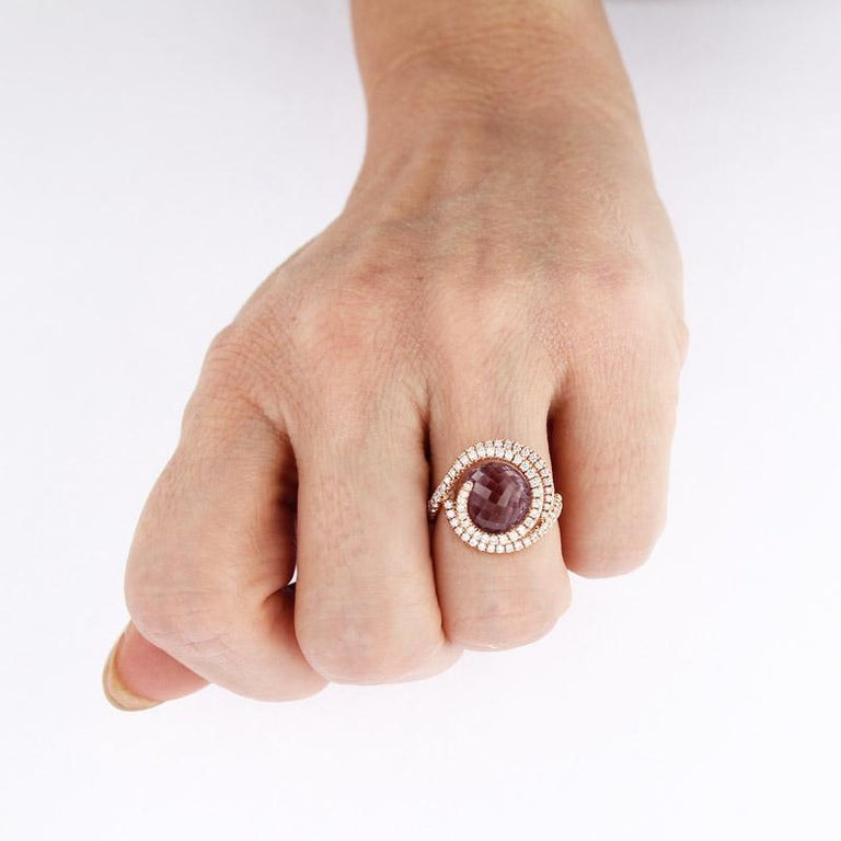 Certified Ring Pink Gold with Diamonds and a set of Three Interchangeable Gems For Sale 7