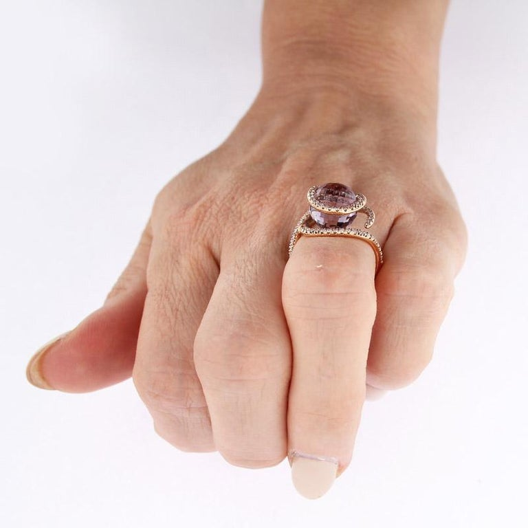Certified Ring Pink Gold with Diamonds and a set of Three Interchangeable Gems For Sale 10