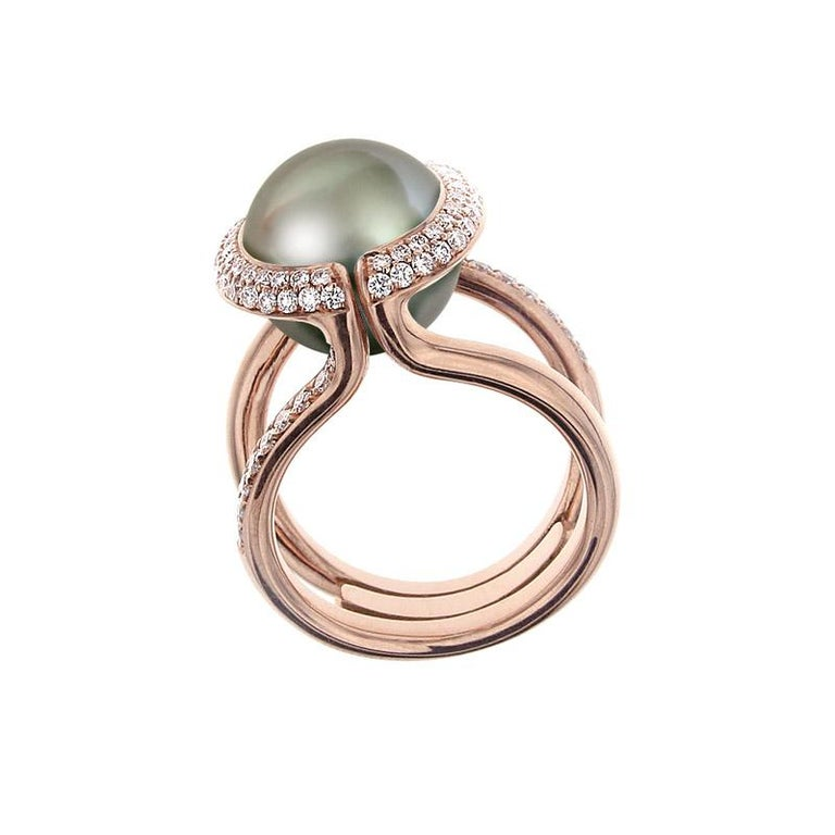 Contemporary Certified Ring Pink Gold with Diamonds and a Set of Three Interchangeable Gems For Sale