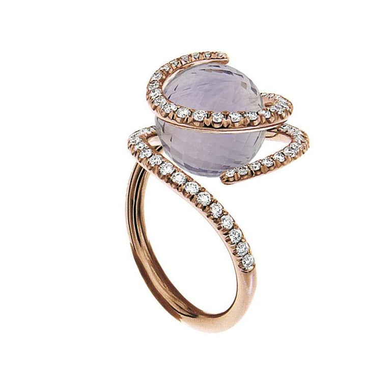 Round Cut Certified Ring Pink Gold with Diamonds and a set of Three Interchangeable Gems For Sale