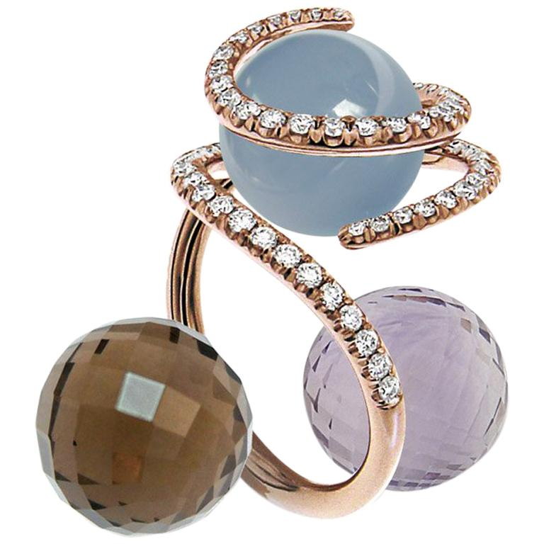 Certified Ring Pink Gold with Diamonds and a set of Three Interchangeable Gems For Sale