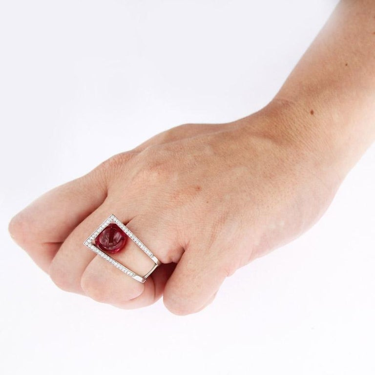 Certified Ring White Gold with Diamonds and a Set of Three Interchangeable Gems For Sale 5