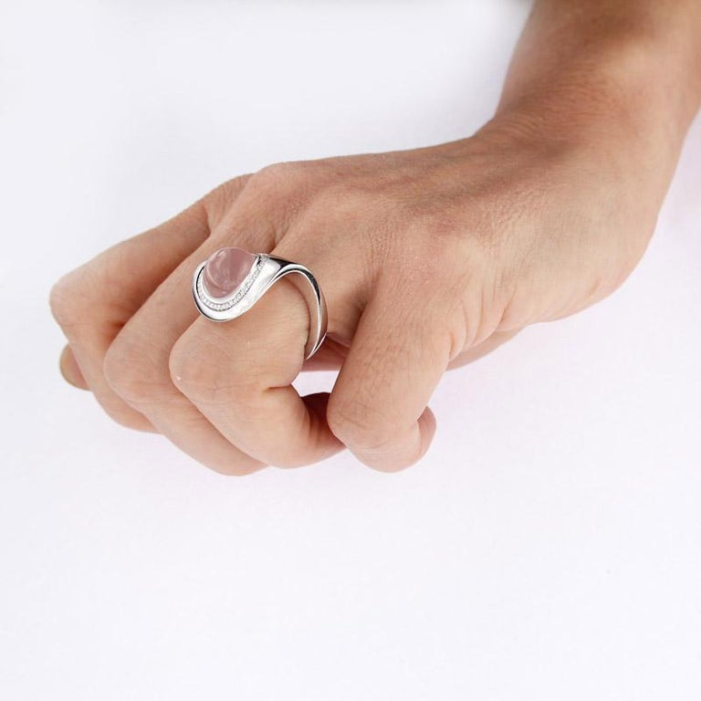 Certified Ring White Gold with Diamonds and a Set of Three Interchangeable Gems For Sale 13