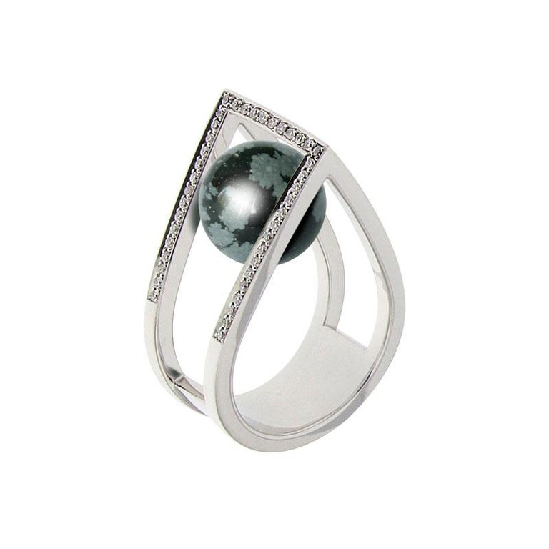 Round Cut Certified Ring White Gold with Diamonds and a Set of Three Interchangeable Gems For Sale